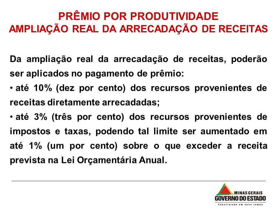 PRÊMIO POR PRODUTIVIDADE AMPLIAÇÃO REAL DA ARRECADAÇÃO DE RECEITAS