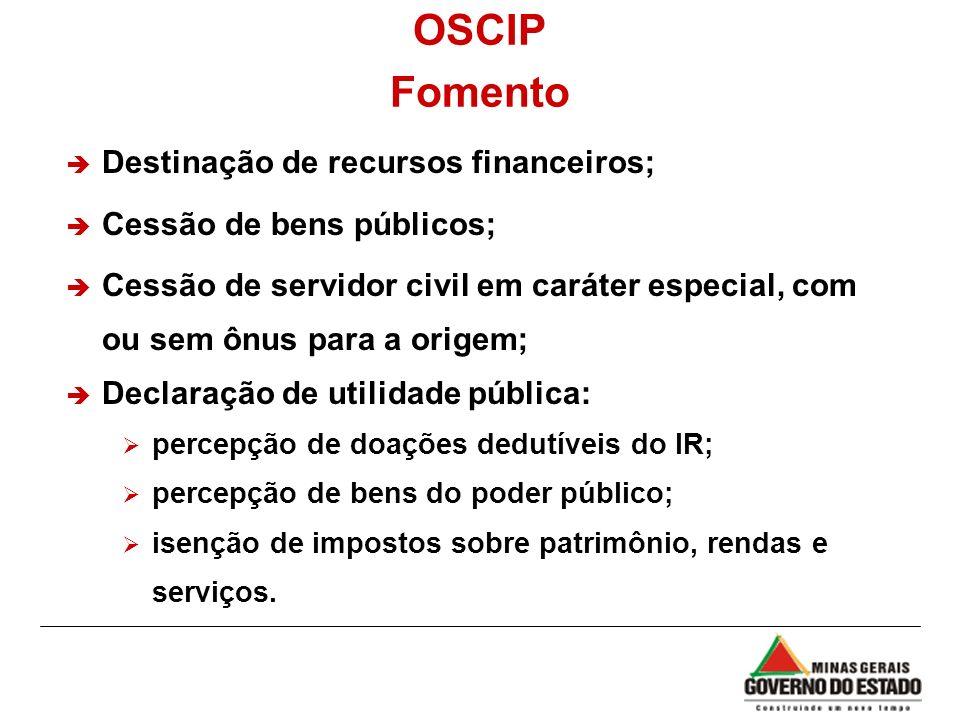 OSCIP Fomento Destinação de recursos financeiros;