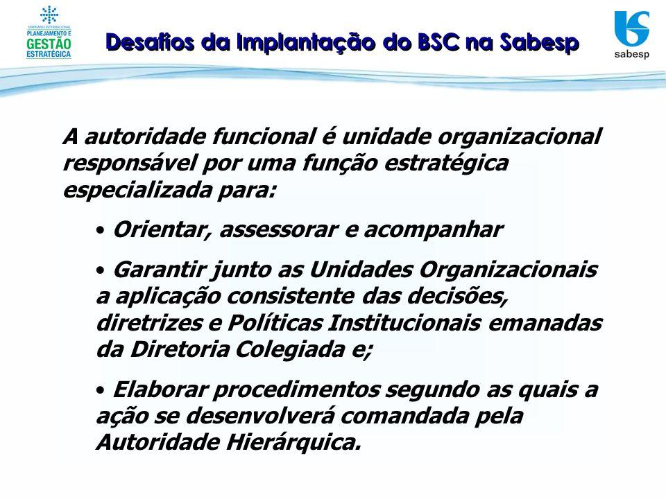 Desafios da Implantação do BSC na Sabesp