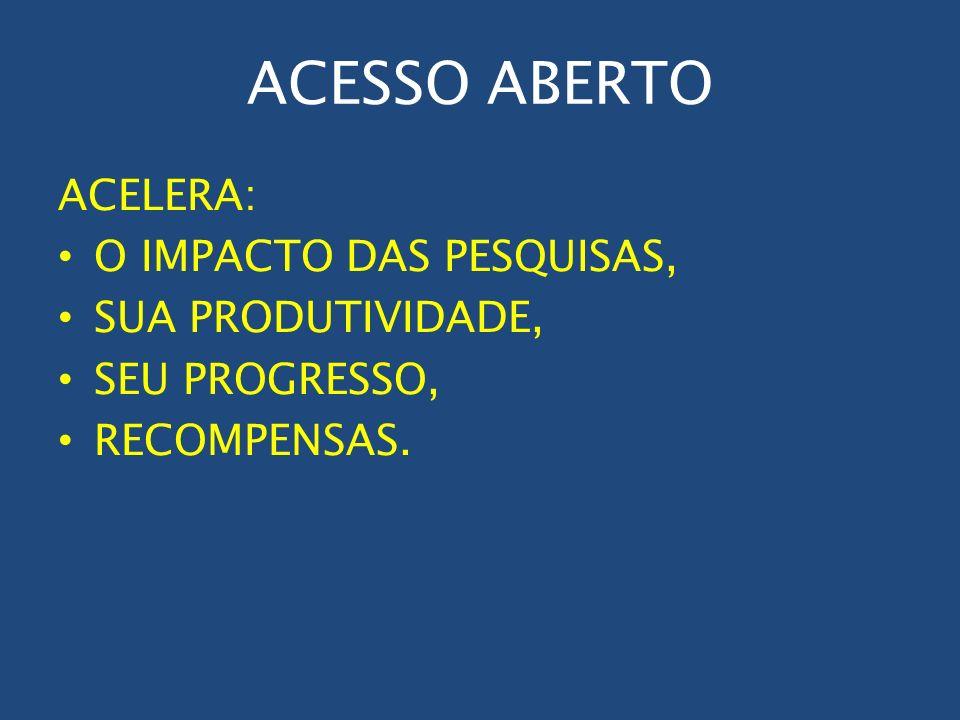 ACESSO ABERTO ACELERA: O IMPACTO DAS PESQUISAS, SUA PRODUTIVIDADE,