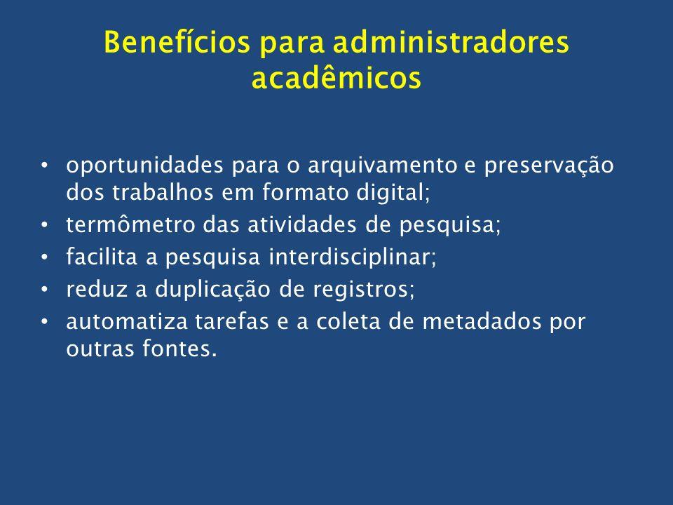 Benefícios para administradores acadêmicos