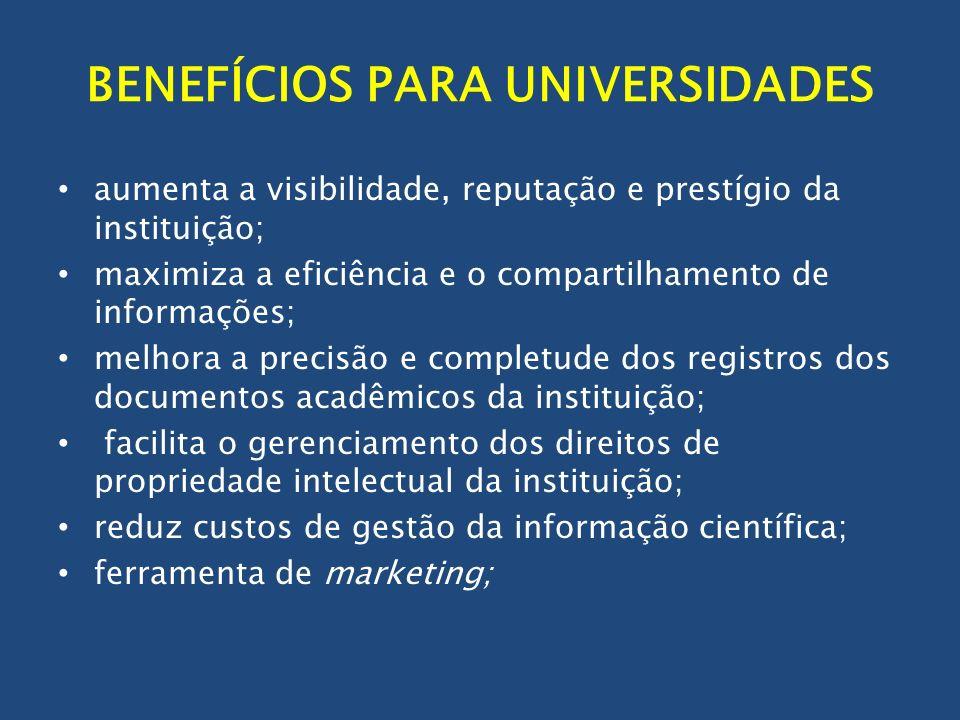 BENEFÍCIOS PARA UNIVERSIDADES