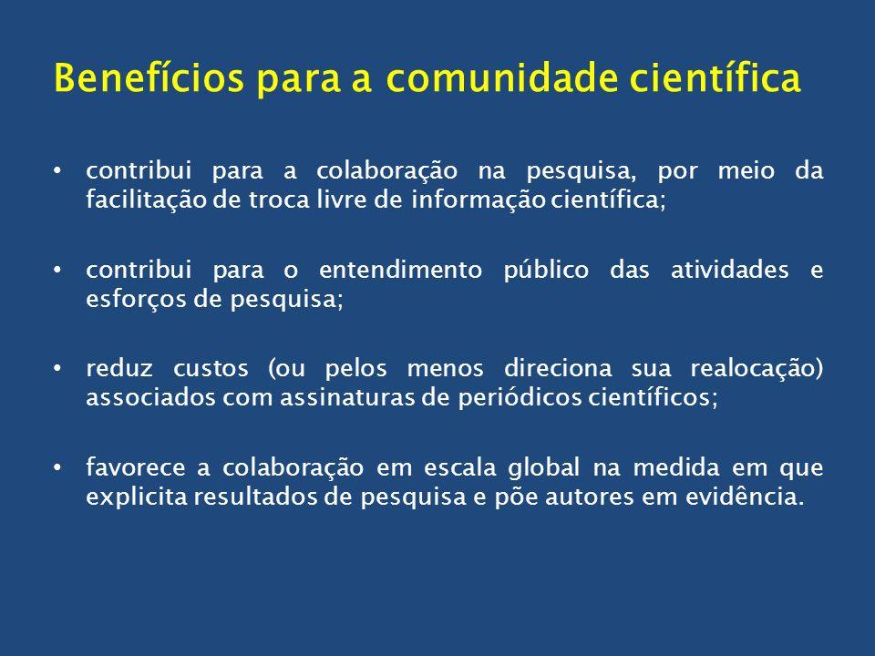 Benefícios para a comunidade científica