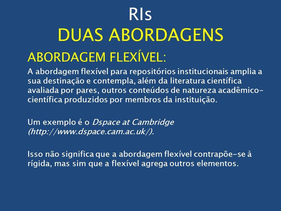 RIs DUAS ABORDAGENS ABORDAGEM FLEXÍVEL: