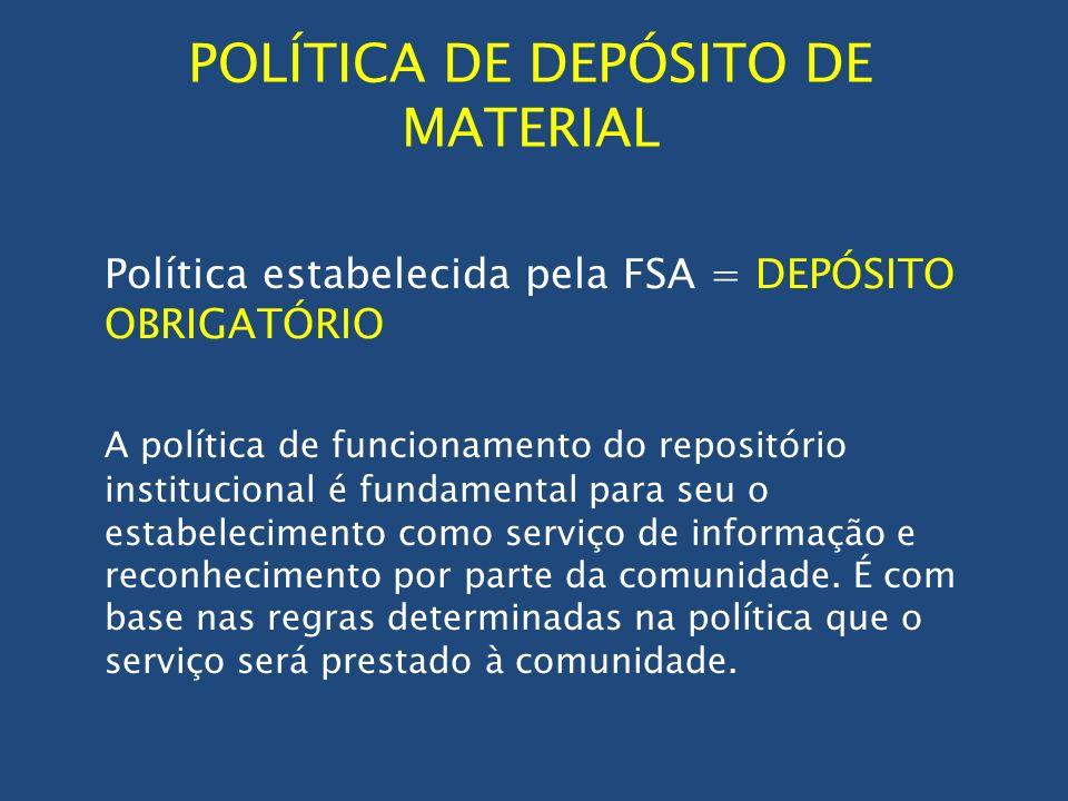 POLÍTICA DE DEPÓSITO DE MATERIAL