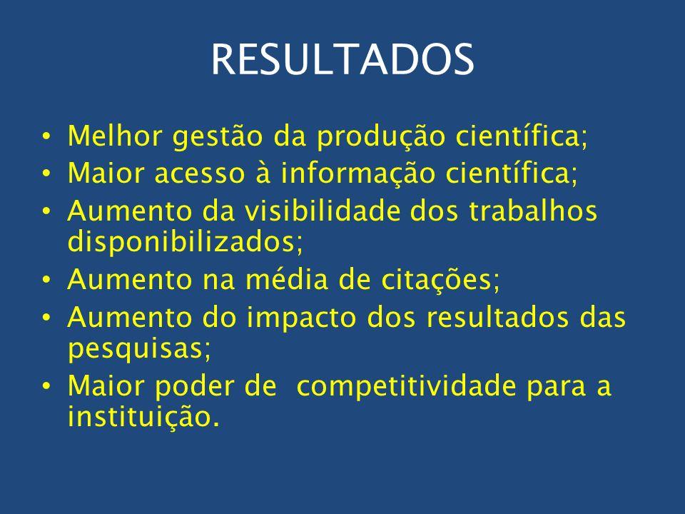 RESULTADOS Melhor gestão da produção científica;