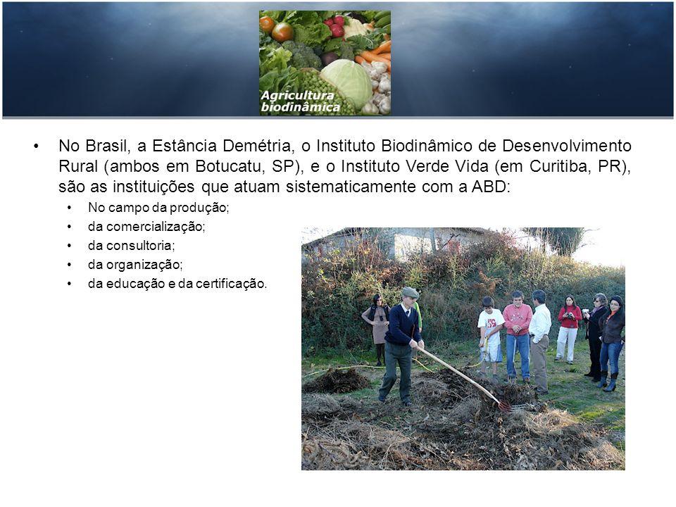 No Brasil, a Estância Demétria, o Instituto Biodinâmico de Desenvolvimento Rural (ambos em Botucatu, SP), e o Instituto Verde Vida (em Curitiba, PR), são as instituições que atuam sistematicamente com a ABD: