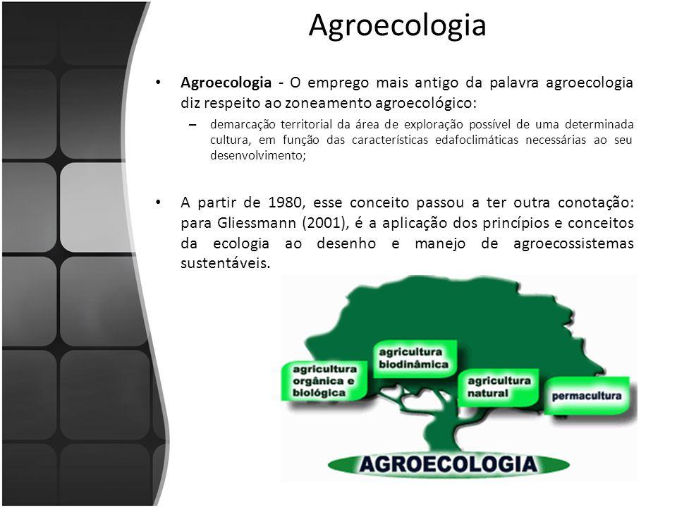 Agroecologia Agroecologia - O emprego mais antigo da palavra agroecologia diz respeito ao zoneamento agroecológico: