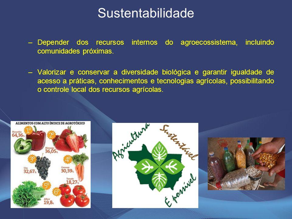 Sustentabilidade Depender dos recursos internos do agroecossistema, incluindo comunidades próximas.