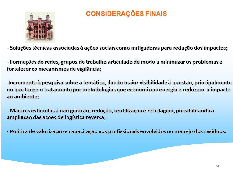 CONSIDERAÇÕES FINAIS - Soluções técnicas associadas à ações sociais como mitigadoras para redução dos impactos;