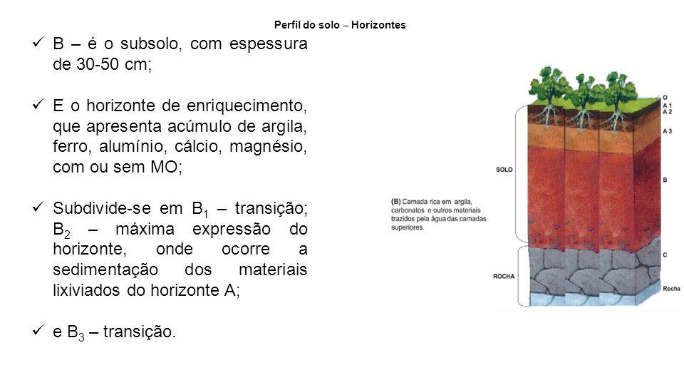 B – é o subsolo, com espessura de 30-50 cm;