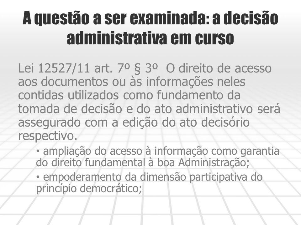 A questão a ser examinada: a decisão administrativa em curso