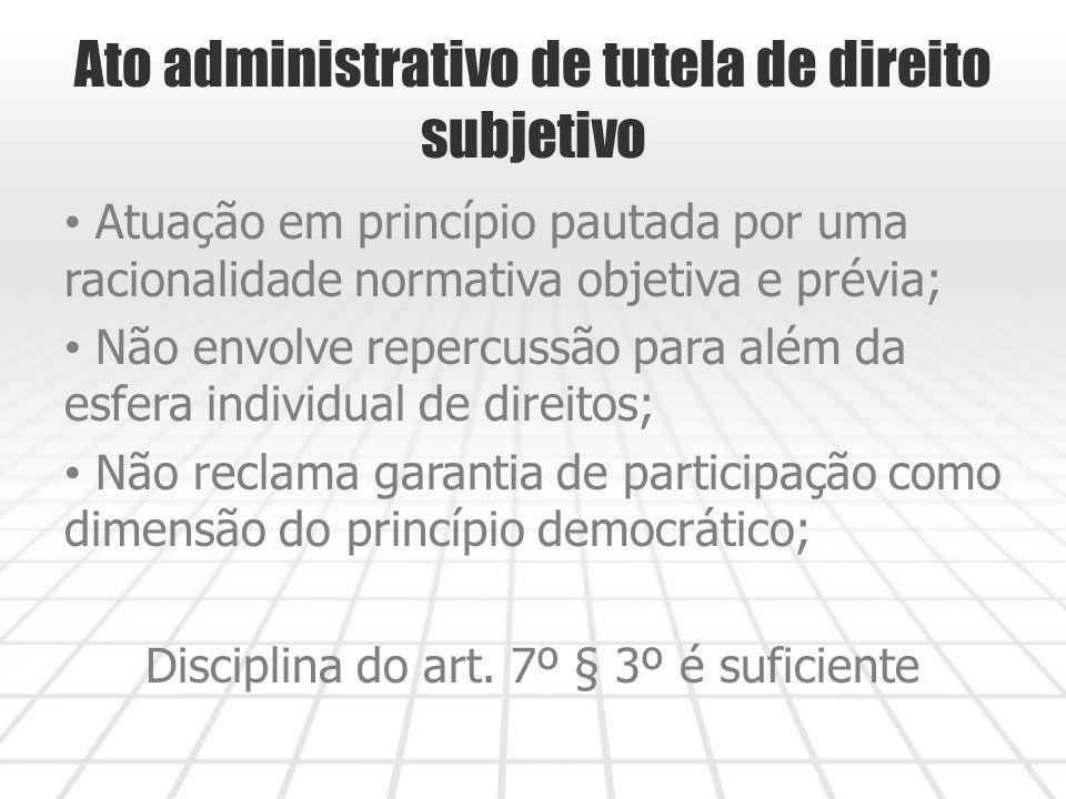 Ato administrativo de tutela de direito subjetivo