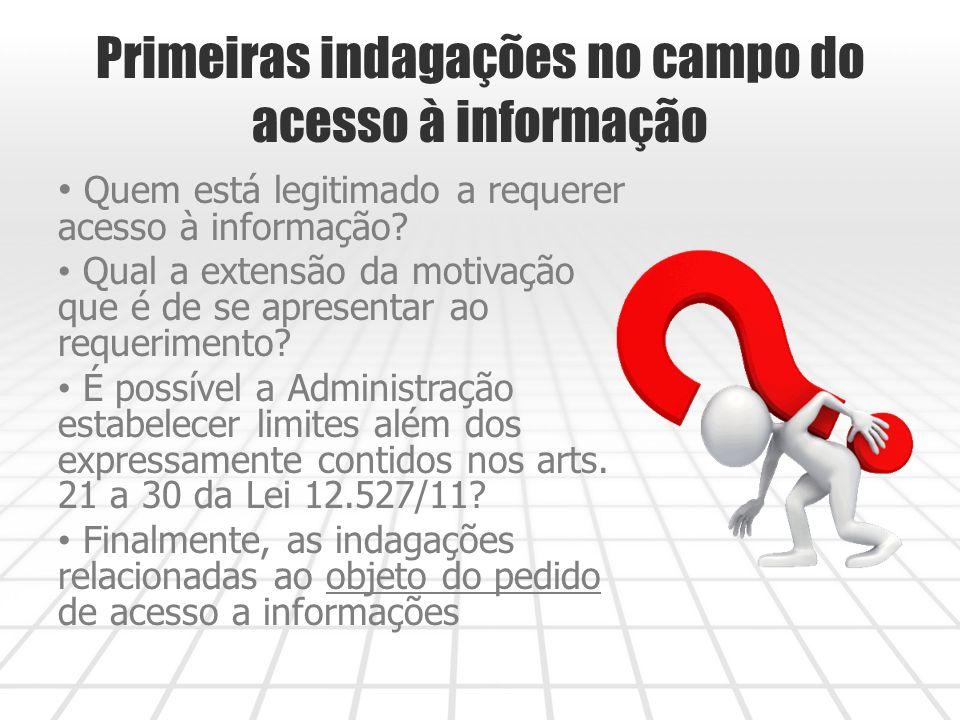Primeiras indagações no campo do acesso à informação