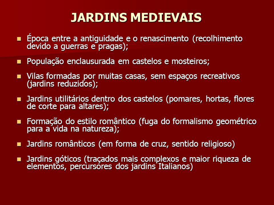 JARDINS MEDIEVAIS Época entre a antiguidade e o renascimento (recolhimento devido a guerras e pragas);