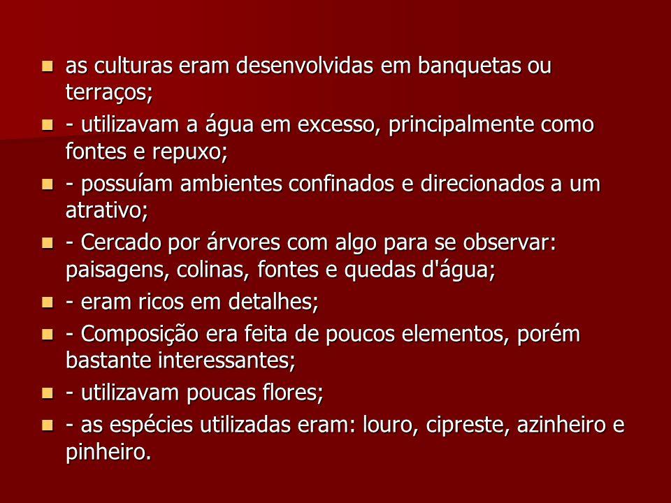 as culturas eram desenvolvidas em banquetas ou terraços;