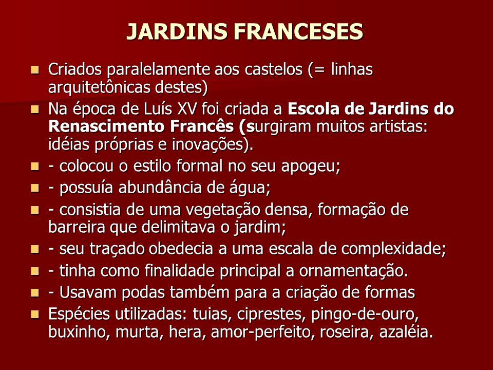 JARDINS FRANCESES Criados paralelamente aos castelos (= linhas arquitetônicas destes)