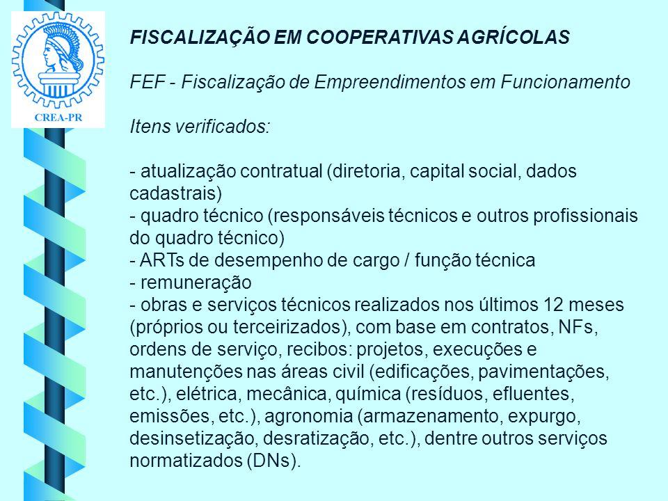 FISCALIZAÇÃO EM COOPERATIVAS AGRÍCOLAS