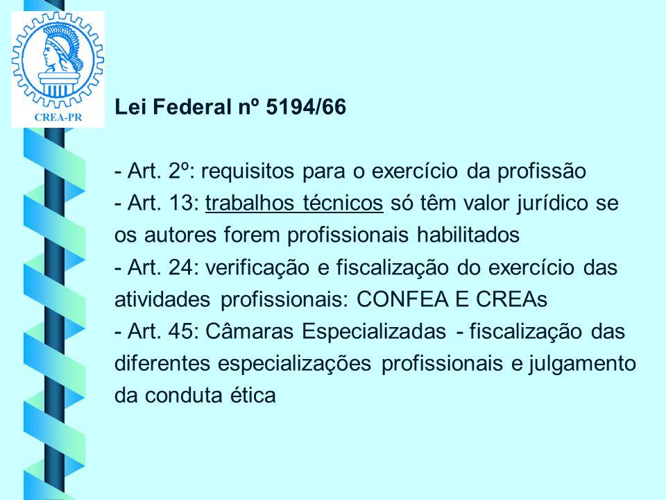 Lei Federal nº 5194/66 - Art. 2º: requisitos para o exercício da profissão. - Art. 13: trabalhos técnicos só têm valor jurídico se.