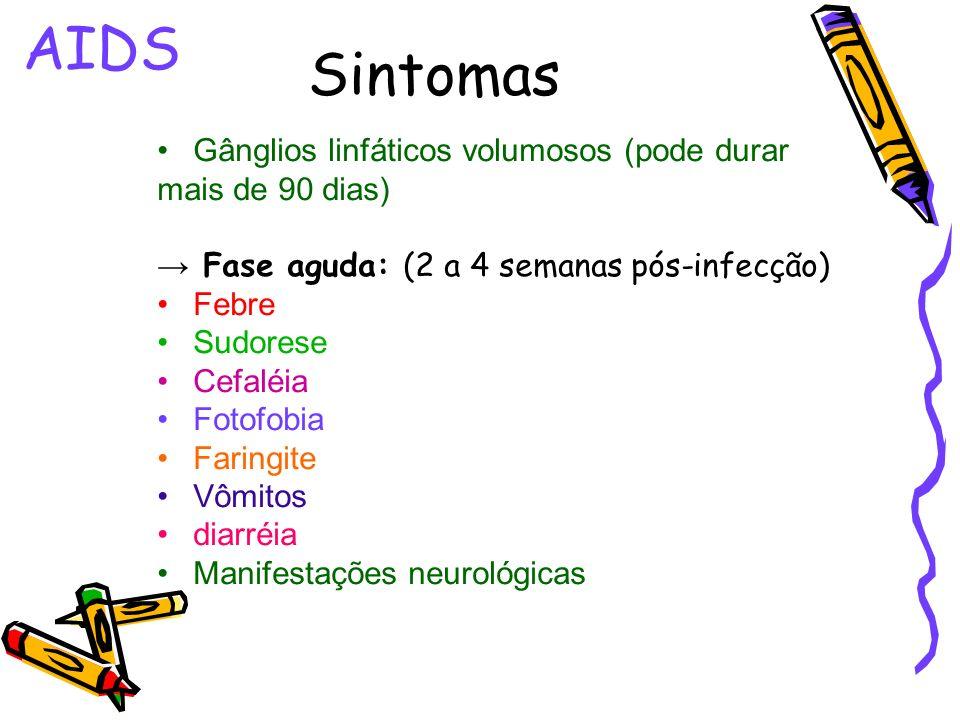 AIDS Sintomas Gânglios linfáticos volumosos (pode durar