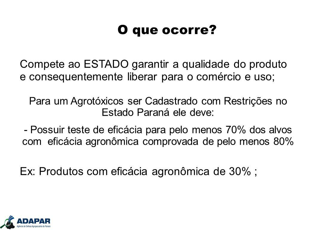 O que ocorre Compete ao ESTADO garantir a qualidade do produto e consequentemente liberar para o comércio e uso;