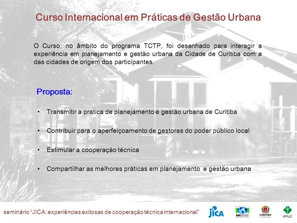 O Curso, no âmbito do programa TCTP, foi desenhado para interagir a experiência em planejamento e gestão urbana da Cidade de Curitiba com a das cidades de origem dos participantes.