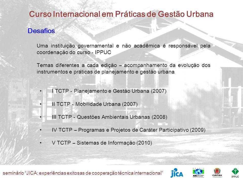Desafios Uma instituição governamental e não acadêmica é responsável pela coordenação do curso - IPPUC.