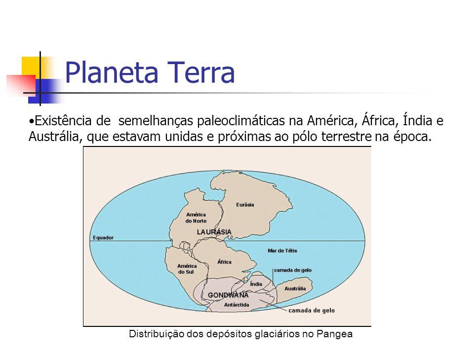 Distribuição dos depósitos glaciários no Pangea