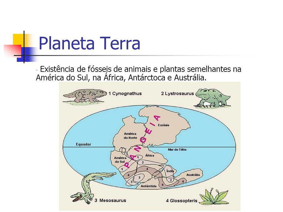 Planeta Terra Existência de fósseis de animais e plantas semelhantes na América do Sul, na África, Antárctoca e Austrália.