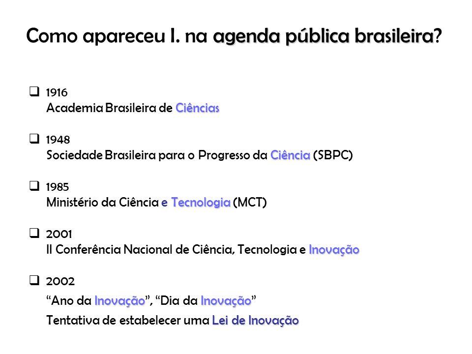 Como apareceu I. na agenda pública brasileira