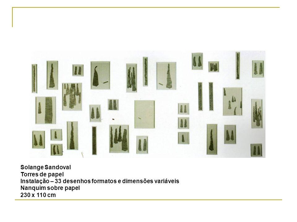 Solange Sandoval Torres de papel. Instalação – 33 desenhos formatos e dimensões variáveis. Nanquim sobre papel.