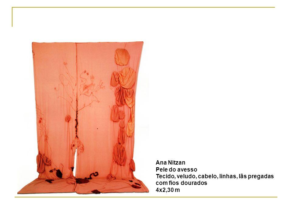 Ana Nitzan Pele do avesso Tecido, veludo, cabelo, linhas, lãs pregadas com fios dourados 4x2,30 m