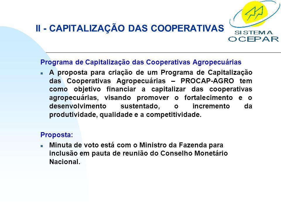 II - CAPITALIZAÇÃO DAS COOPERATIVAS