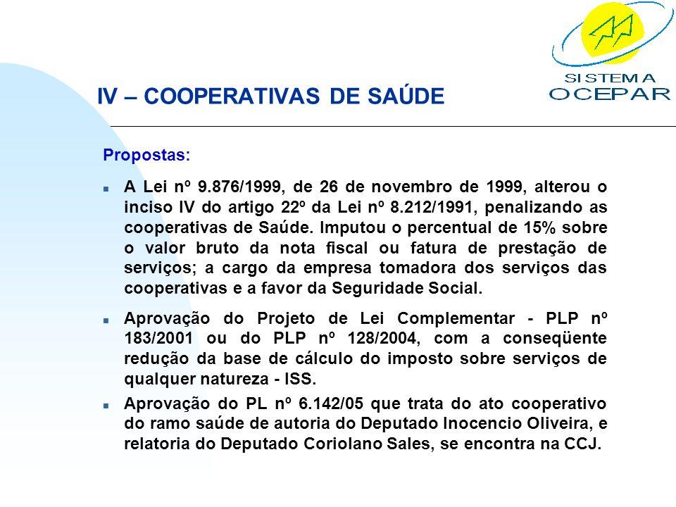 IV – COOPERATIVAS DE SAÚDE