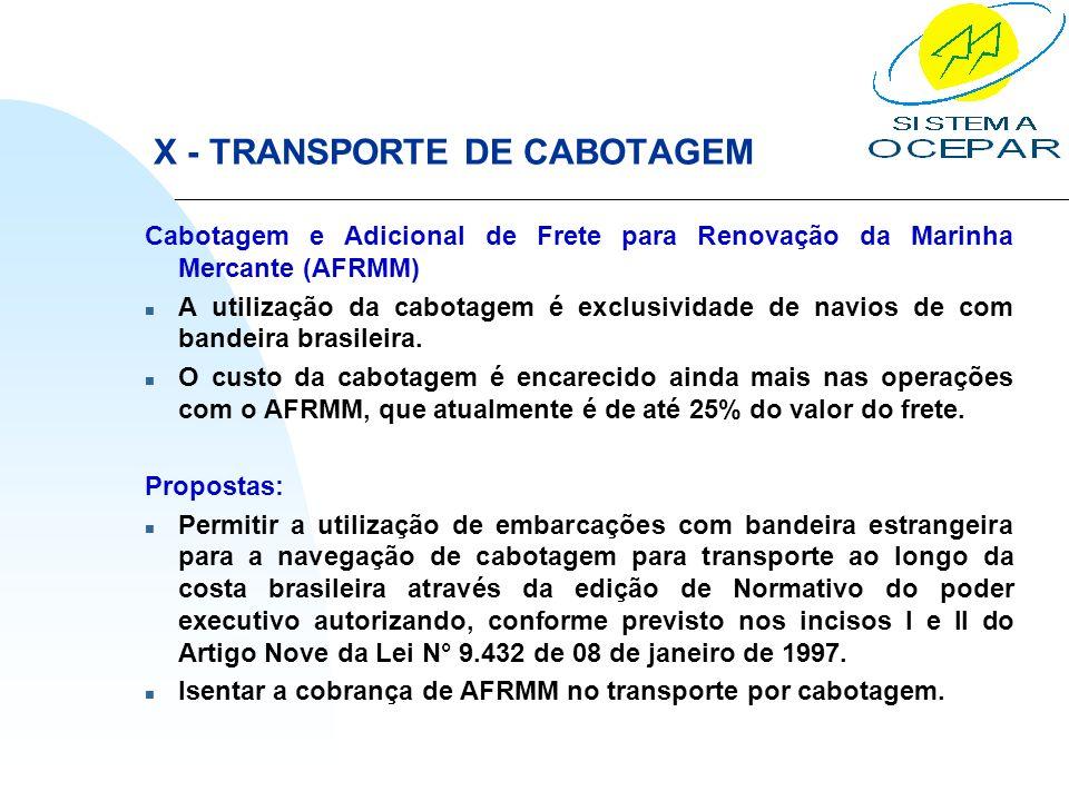X - TRANSPORTE DE CABOTAGEM