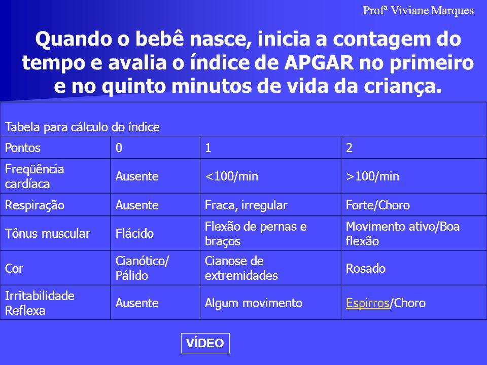 Profª Viviane Marques Quando o bebê nasce, inicia a contagem do tempo e avalia o índice de APGAR no primeiro e no quinto minutos de vida da criança.