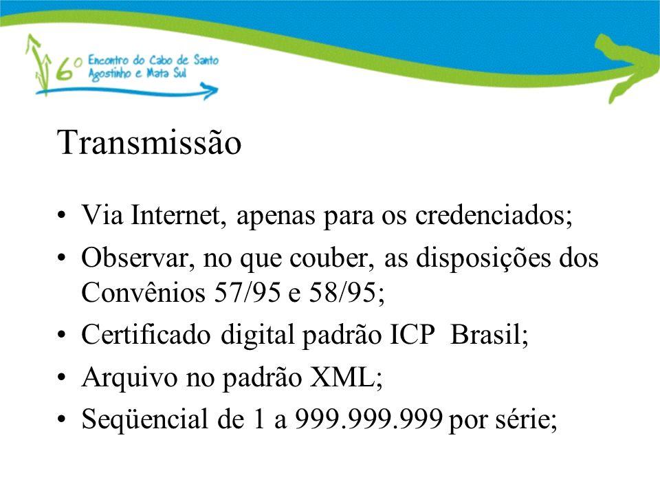 Transmissão Via Internet, apenas para os credenciados;
