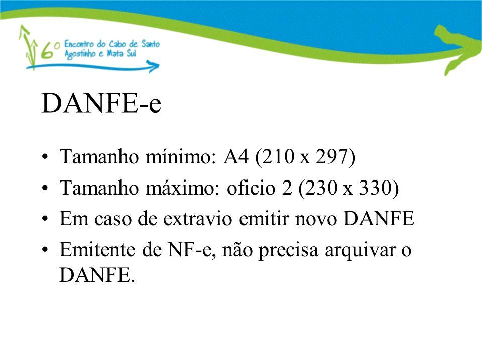 DANFE-e Tamanho mínimo: A4 (210 x 297)