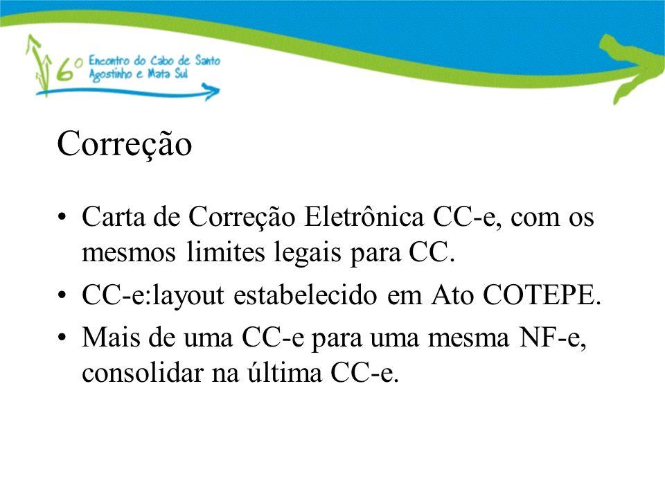 Correção Carta de Correção Eletrônica CC-e, com os mesmos limites legais para CC. CC-e:layout estabelecido em Ato COTEPE.