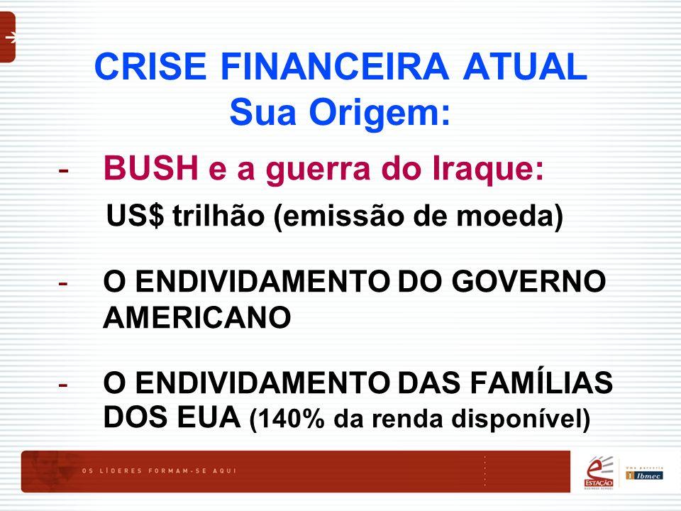 CRISE FINANCEIRA ATUAL Sua Origem: