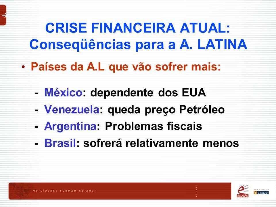 CRISE FINANCEIRA ATUAL: Conseqüências para a A. LATINA