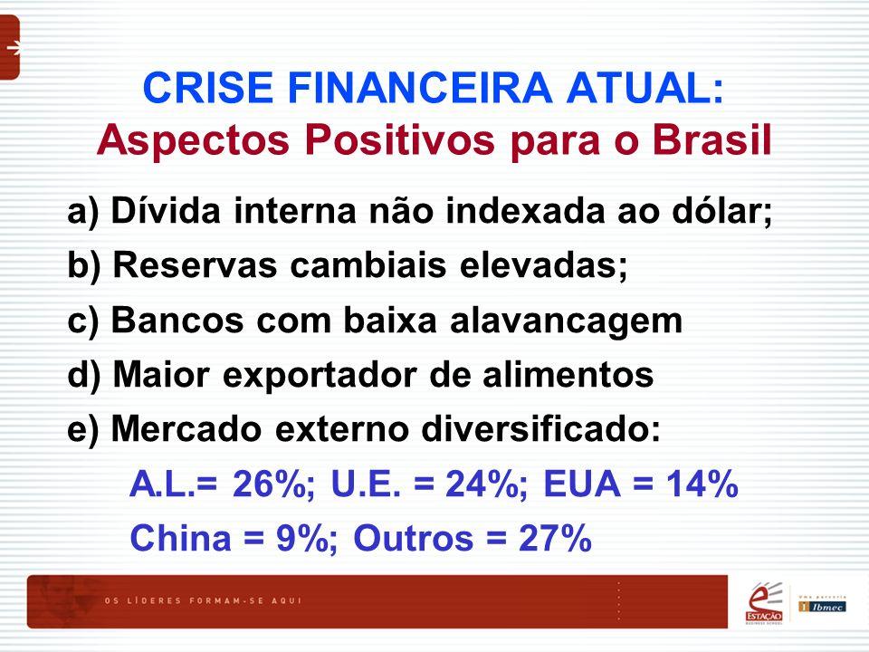 CRISE FINANCEIRA ATUAL: Aspectos Positivos para o Brasil