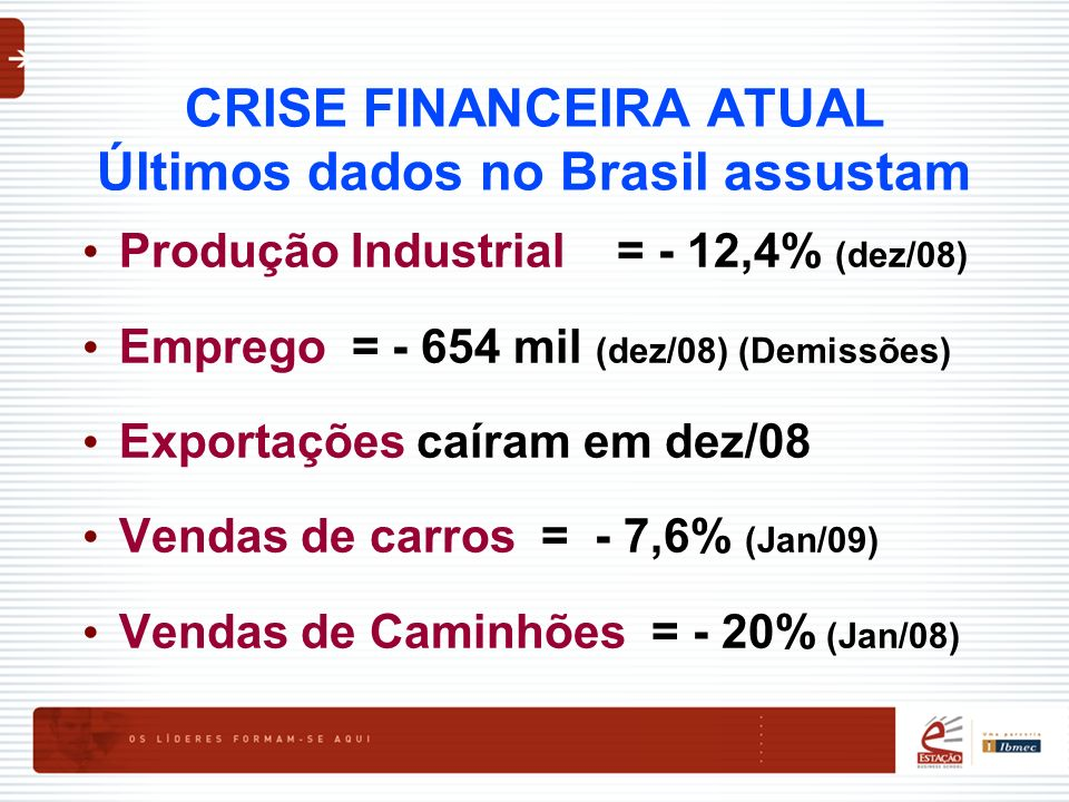 CRISE FINANCEIRA ATUAL Últimos dados no Brasil assustam