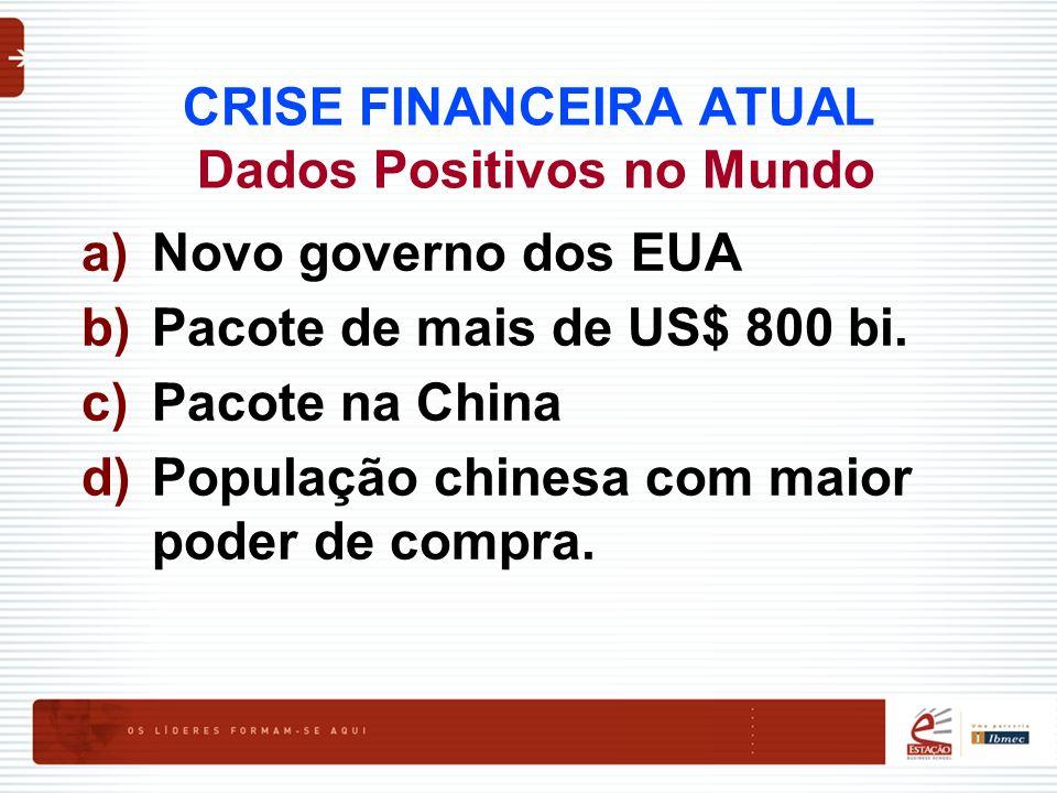 CRISE FINANCEIRA ATUAL Dados Positivos no Mundo