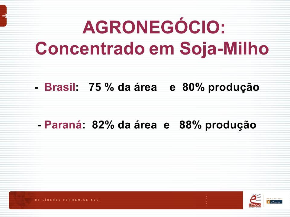 AGRONEGÓCIO: Concentrado em Soja-Milho