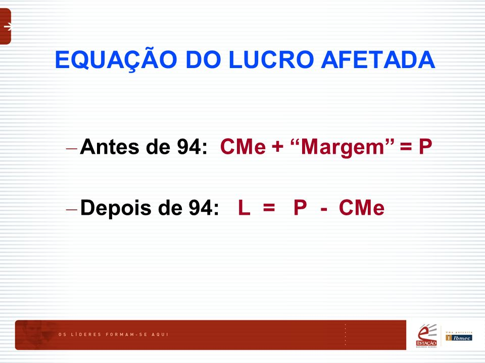 EQUAÇÃO DO LUCRO AFETADA