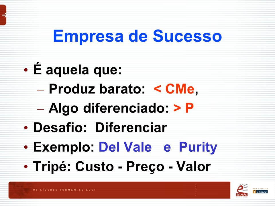 Empresa de Sucesso É aquela que: Produz barato: < CMe,