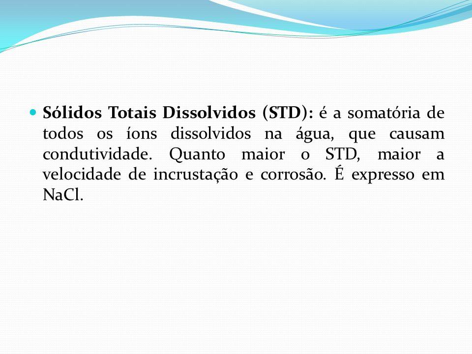 Sólidos Totais Dissolvidos (STD): é a somatória de todos os íons dissolvidos na água, que causam condutividade.