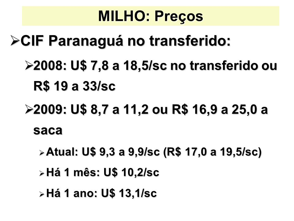 CIF Paranaguá no transferido: