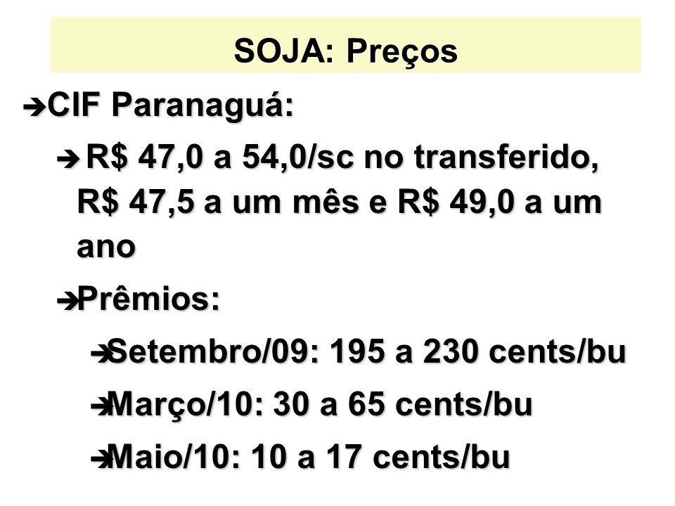 SOJA: Preços CIF Paranaguá: R$ 47,0 a 54,0/sc no transferido, R$ 47,5 a um mês e R$ 49,0 a um ano.